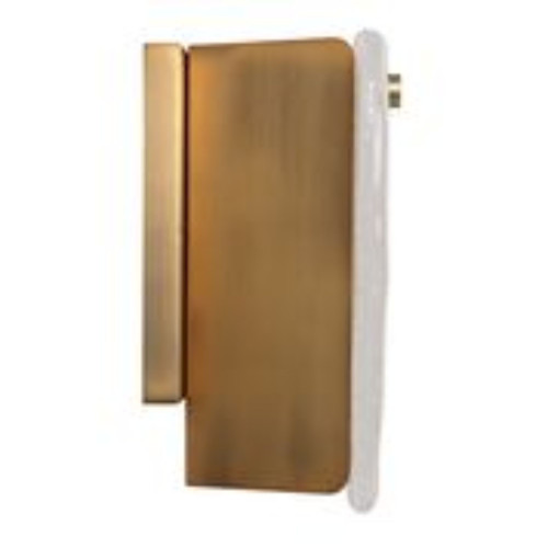 """8"""" Gold Antique Brass Hardware Pérignon Square Sconce in Textured Melted Ice Glass - IMAGE 1"""