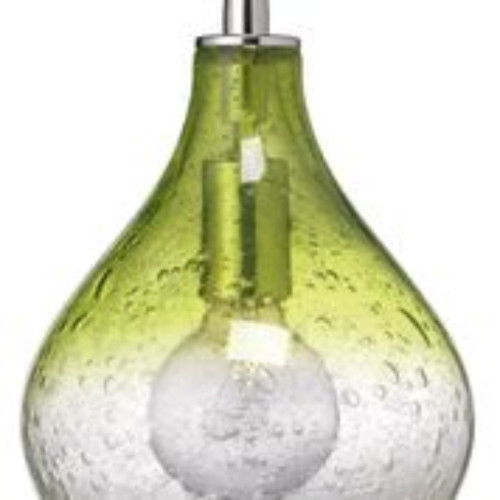 """9"""" Green Seeded Glass Small Curved Hanging Pendant Ceiling Light Fixture - IMAGE 1"""