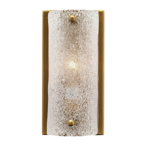"""8.25"""" Antique Brass Gold and Clear Textured Melted Ice Glass Moet Double Rounded Wall Sconce - IMAGE 1"""