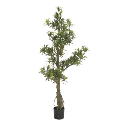 """48"""" Green and Black Potted Artificial Podocarpus Tree - IMAGE 1"""