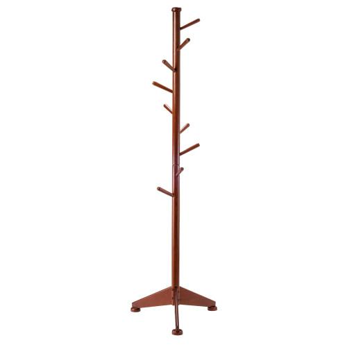 "70"" Walnut Solid Wood Coat Rack Tree with Pegs - IMAGE 1"