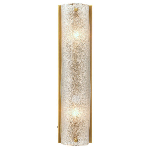 """16"""" Antique Brass Gold and Clear Textured Melted Ice Glass Moet Double Rounded Wall Sconce - IMAGE 1"""