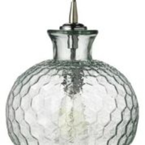 "10"" Clear Bumpy Honeycomb Patterned Glass Pendant Ceiling Light - IMAGE 1"