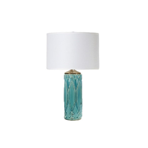 """32"""" Turquoise Blue and White Tabitha Ceramic Table Lamp with Drum Shade - IMAGE 1"""