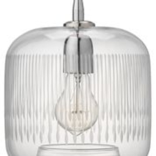 """9.5"""" Clear Glass and Nickel Contour Hanging Pendant Ceiling Light Fixture - IMAGE 1"""