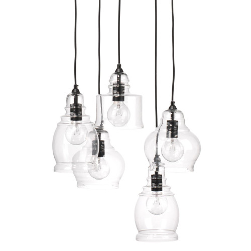 """Set of 5 Black and Clear Glass Globe Pendant Cluster Lights, 96"""" - IMAGE 1"""