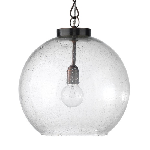 """16"""" Oiled Bronze and Seeded Glass Finish Pendant Ceiling Light - IMAGE 1"""