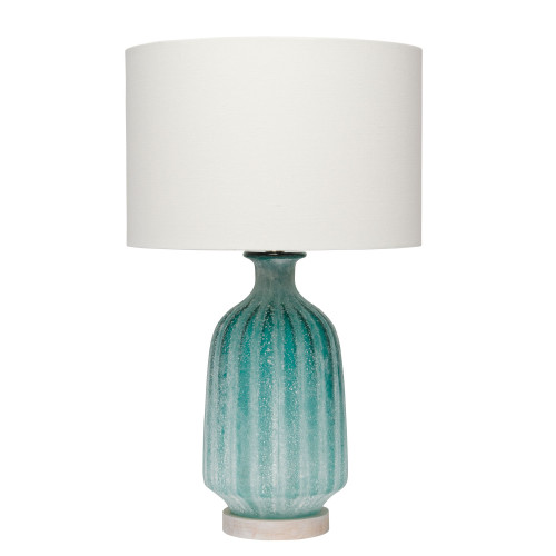 """23.75"""" Teal Blue Aqua Frosted Glass Table Lamp with Drum Shade - IMAGE 1"""