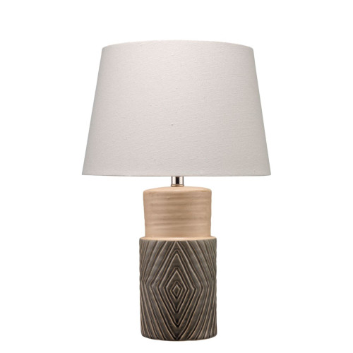 "22"" Grey and Linen Brown Ripple Ceramic Table Lamp with Open Cone Shade - IMAGE 1"