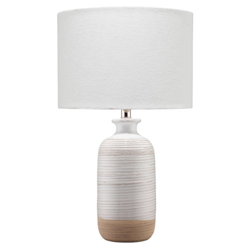 "23"" White and Linen Brown Ashwell Ceramic Table Lamp with Drum Shade - IMAGE 1"