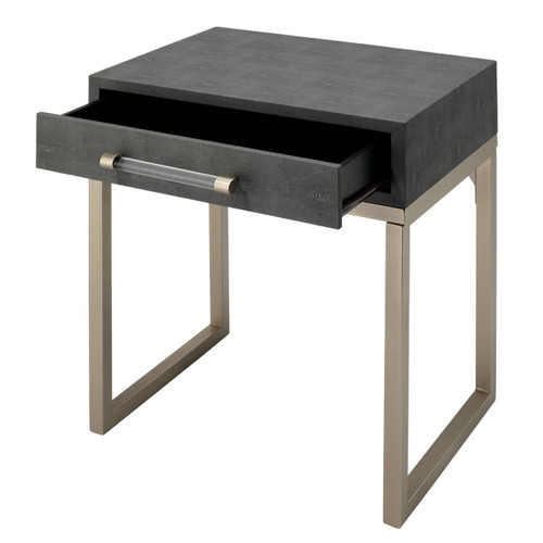 """24"""" Gray Faux Shagreen and Iron Rectangular Side Table with 1 Drawer - IMAGE 1"""