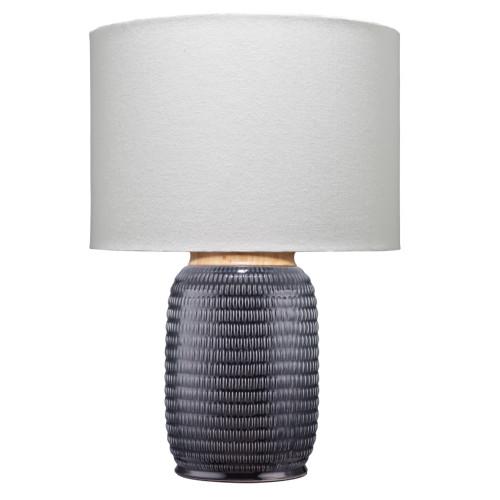 "24.50"" Black Graham Ceramic Table Lamp with Drum Shade - IMAGE 1"