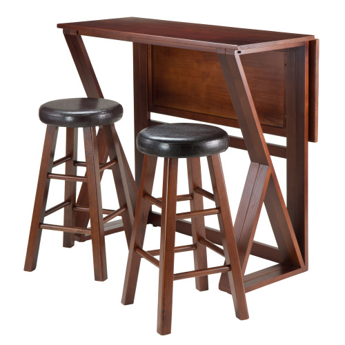 """Set of 3 Walnut Unique Harrington Drop Leaf High Table with Round Comfortable Cushion Seat Stools, 39.25"""" - IMAGE 1"""