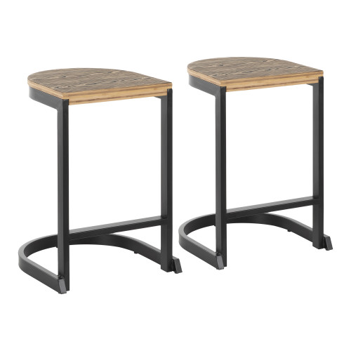 """Set of 2 Espresso Bamboo Wood and Metal Industrial Demi Indoor Counter Stool 24"""" - IMAGE 1"""