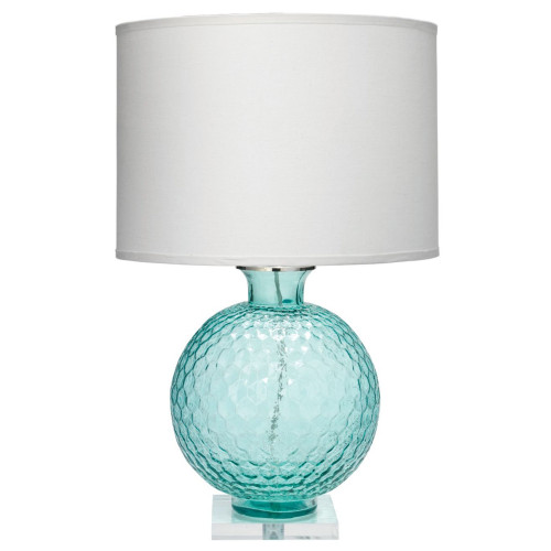 """30"""" Aqua Clark Table Lamp with Large Drum Shade in White Linen - IMAGE 1"""