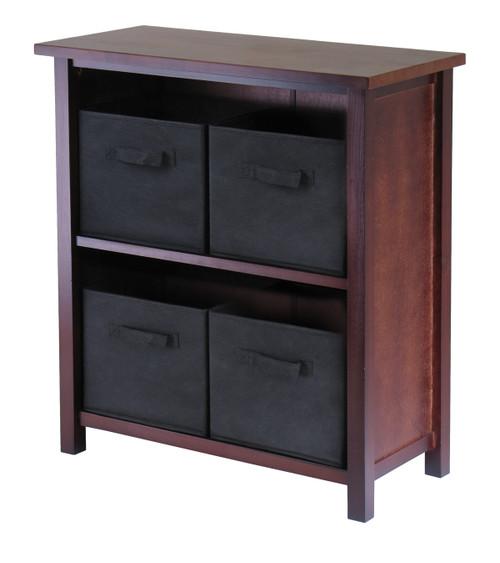 "30"" Walnut and Black Unique Verona 2-Section Rectangular Storage Shelf with 4 Foldable Fabric Baskets - IMAGE 1"
