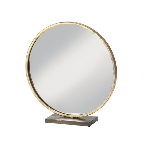 """16.5"""" Gold and Clear Brushed Round Tabletop Vanity Mirror - IMAGE 1"""