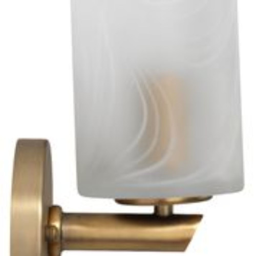 "10"" Clear & White Swirl Glass with Antique Brass Hardware Streamer Sconce - IMAGE 1"