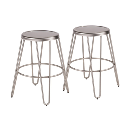 "Set of 2 Stainless Steel Industrial Metal Counter Stools 24"" - IMAGE 1"