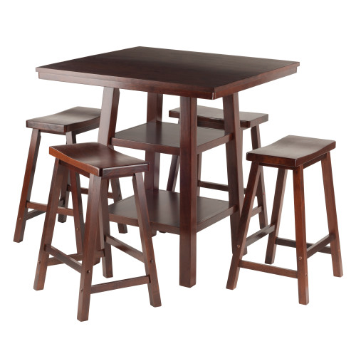"""Set of 5 Orlando Solid Wood 2 Shelves High Table with 4 Saddle Seat Stools 36"""" - IMAGE 1"""