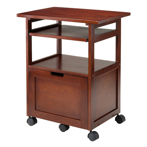 """29.5"""" Walnut Wood Work Cart with Keyboard and Pull Out Drawer - IMAGE 1"""