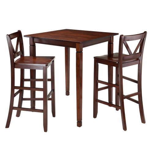 "Set of 3 Warm Walnut High Dining Table with Bar V-Back Chairs 38.75"" - IMAGE 1"