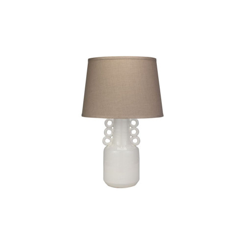 "26.5"" Brown and White Ceramic with Classic Cone Shade in Natural Linen Circus Table Lamp - IMAGE 1"