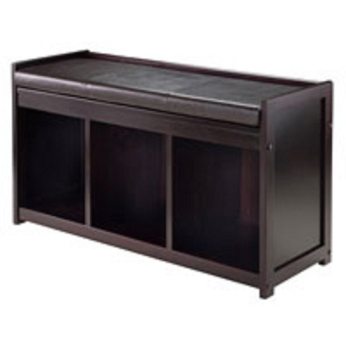"20.75"" Espresso Brown Storage Bench with Cushion - IMAGE 1"