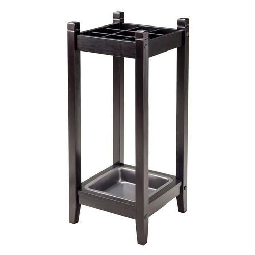 "25.75"" Espresso Brown Jana Umbrella Stand with Metal Tray - IMAGE 1"