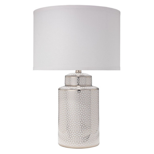 "24"" Silver and White Ceramic with Small Drum Shade in White Linen Celeste Table Lamp - IMAGE 1"