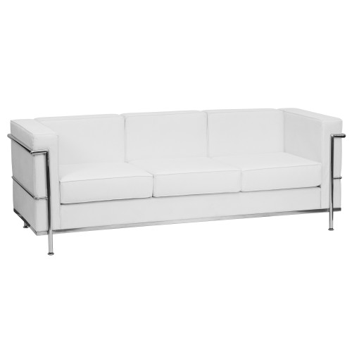 "79"" Melrose White and Stainless Contemporary Upholstered Button Tufted Sofa - IMAGE 1"