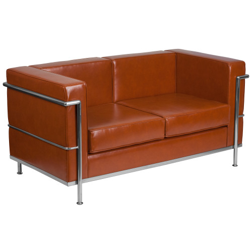 """57"""" Brown Cognac Hercules Regal Series Contemporary Leather Loveseat with Encasing Frame - IMAGE 1"""