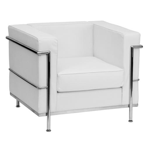 """35"""" Melrose Whiteand Stainless Contemporary Upholstered Button Tufted Chair - IMAGE 1"""