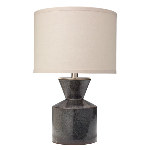 """19.5"""" Blue Ceramic Table Lamp with Small Drum Shade in White Linen - IMAGE 1"""