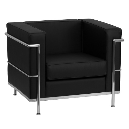 """35"""" Black and Stainless Contemporary Upholstered Button Tufted Chair - IMAGE 1"""