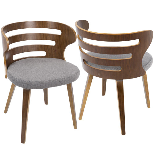 """28"""" Brown Walnut and Gray Fabric Cosi Mid-Century Modern Dining Chair - IMAGE 1"""
