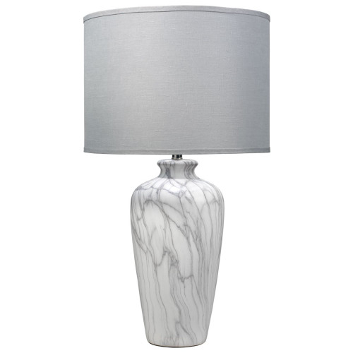 """33"""" Marbled Ceramic Table Lamp with Large Drum Shade in Gray Linen - IMAGE 1"""