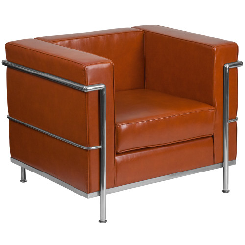 """35"""" Brown Cognac and Stainless Contemporary Upholstered Button Tufted Chair - IMAGE 1"""
