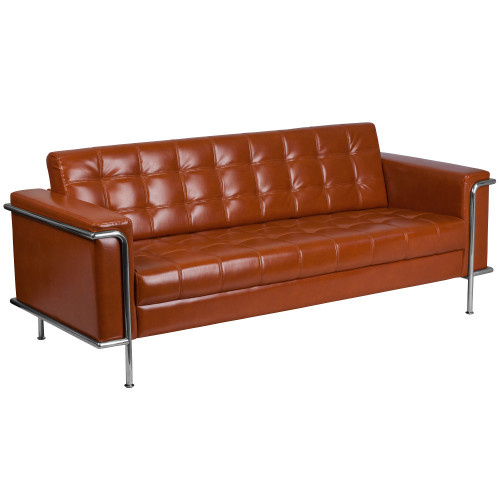 """81"""" Brown Cognac and Stainless Contemporary Upholstered Button Tufted Sofa - IMAGE 1"""