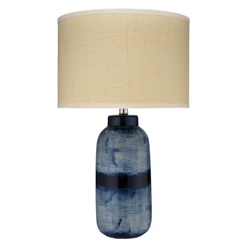 """25"""" Indigo Ceramic Large Batik Table Lamp with Medium Drum Shade in Raffia - IMAGE 1"""