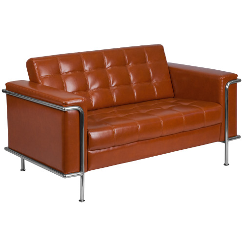 """59"""" Cognac Brown Leather - Tufted Loveseat with Encasing Frame - IMAGE 1"""