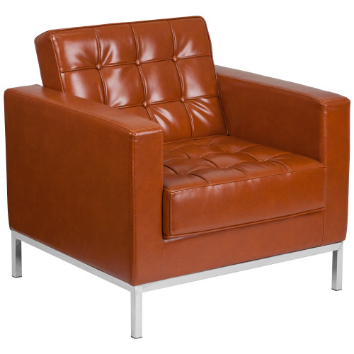 "33"" Cognac Brown and Stainless Contemporary Button Tufted Chair - IMAGE 1"