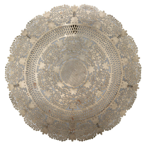 """19"""" Silver Cirle Penelope Lace Wall Art Antique Medallion - IMAGE 1"""