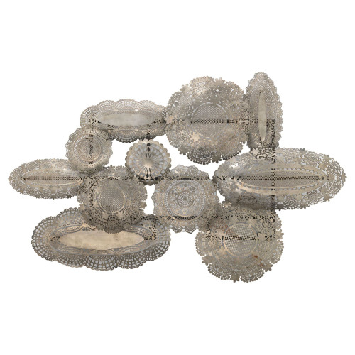 """43"""" Antique Silver Lace Patterned Unframed Wall Art Decoration - IMAGE 1"""