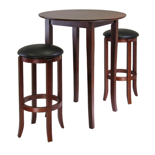 """Set of 3 Antique Walnut Solid Wood Round High Table with Round Swivel Bar Stools 38.75"""" - IMAGE 1"""