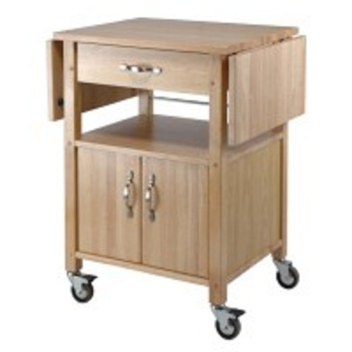 "33.25"" Beige Kitchen Cart with Double Drop Leaf Cabinet and Shelf - IMAGE 1"