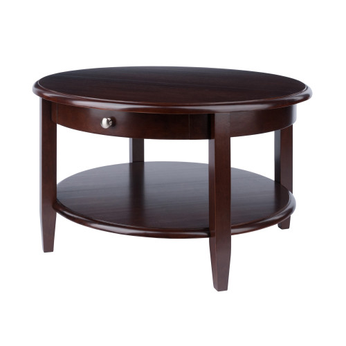 """30"""" Walnut Finish Round Coffee Table with Drawer and Shelf - IMAGE 1"""