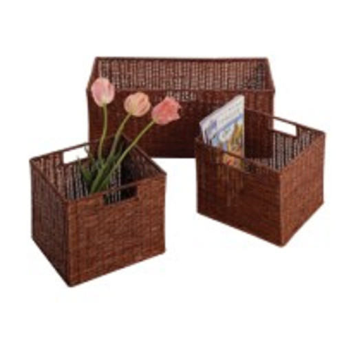 Set of 3 Brown Wired Baskets - IMAGE 1