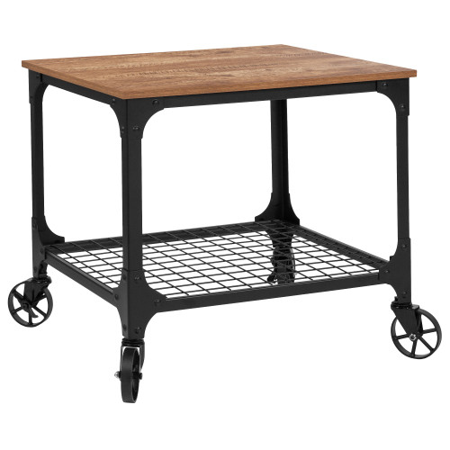"26.25"" Brown and Black Industrial Kitchen Serving with Bar Cart - IMAGE 1"
