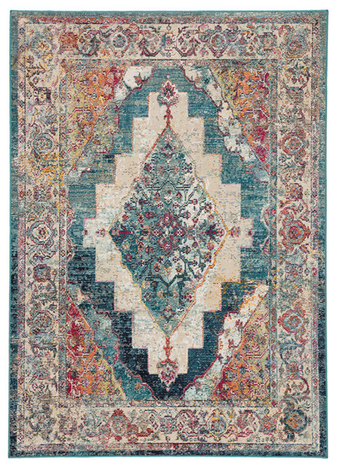 7.75' x 9.75' Beige and Teal Blue Traditional Rectangular Bohemian Area Throw Rug - IMAGE 1